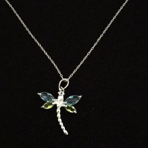 Jewelry - Sterling silver chain necklace w Dragonfly Pendant